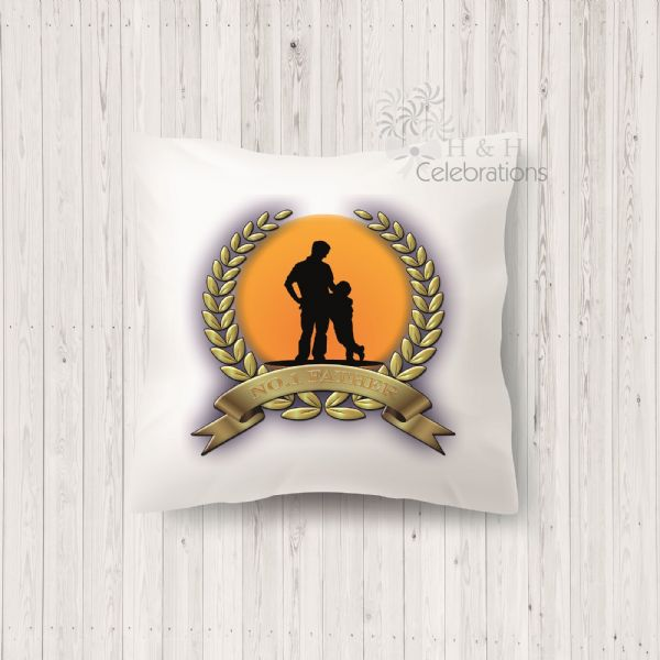 No 1 Father And Son Laurel Silhouette Personalised Cushion